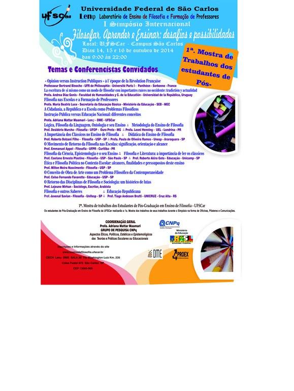 """Cartaz do I Simpósio Internacional """"Filosofar, Aprender e Ensinar"""""""